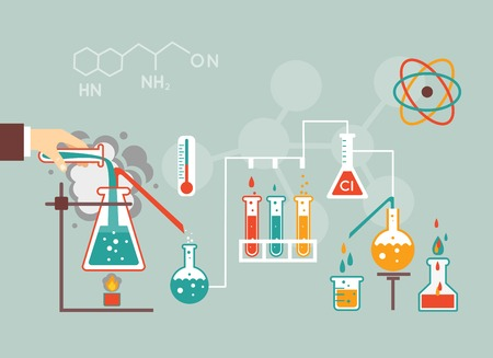 Chemistry infographic vector illustration, infographics template for medical research documents and reports Illustration