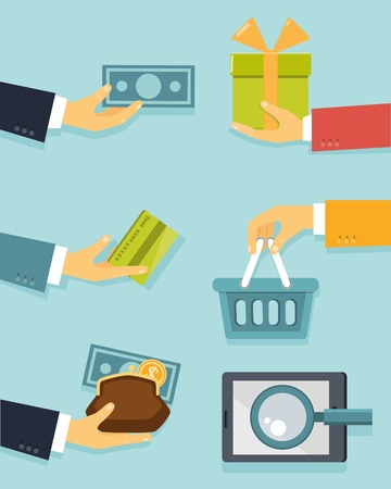 acquisition: Flat concept of business with hands for payments and sales vector illustration