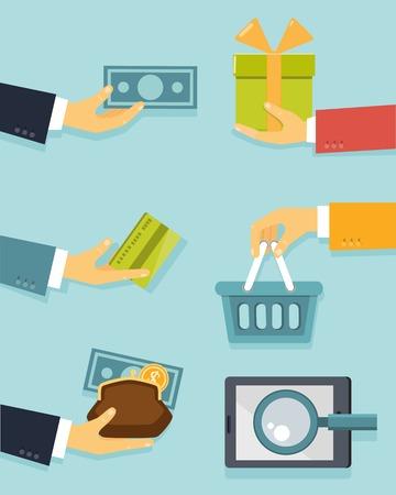 Flat concept van business met handen voor betalingen en de verkoop vector illustratie