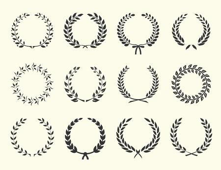 Duży zestaw sylwetki wieńce laurowe na białym tle ilustracji wektorowych