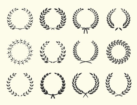 wheat illustration: large set of silhouettes laurel wreaths on white background vector illustration
