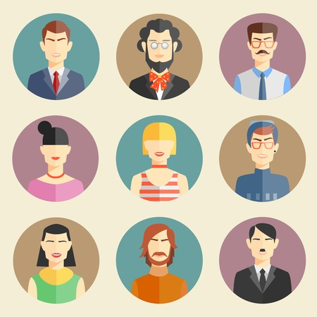 Vector set of stylish handsome characters in modern flat design Vector