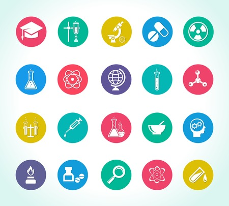 pharmaceutical industry: scientific research icons for work on chemical, biological and micro research
