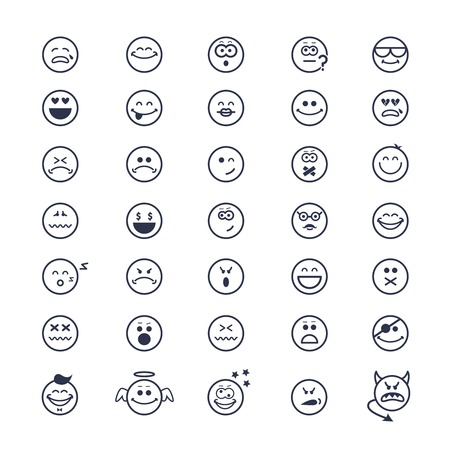 large set of vector icons of smiley faces on white background