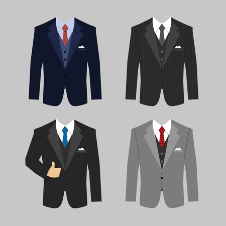 set of different colors business clothing suits vector eps10 illustration