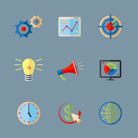 SEO flat colorful vector icons on white background Vector