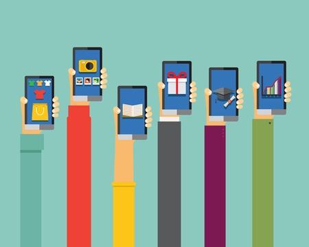 mobile apps illustration in flat design, hands holding smartphones Illustration
