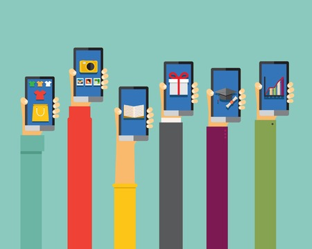 smart phone hand: mobile apps illustration in flat design, hands holding smartphones Illustration