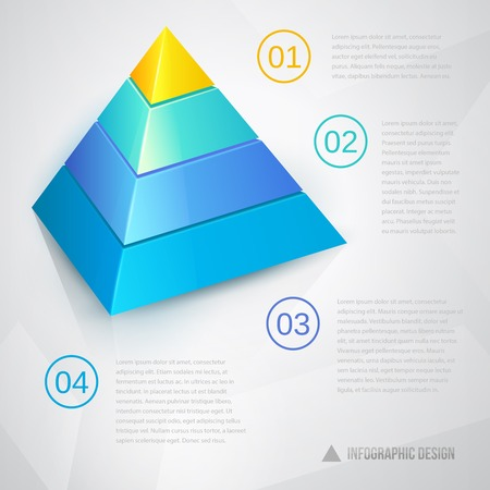 Presentation template with pyramidal diagram ant text, vector eps10 illustration