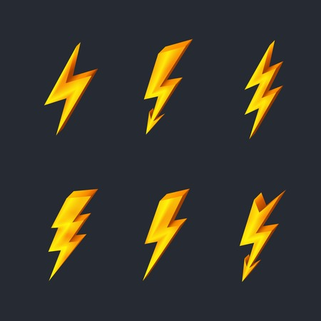 bolt: Gold lightning icons on black background vector illustration