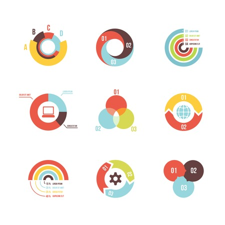 set of vector circle infographic design templates on white background Illustration