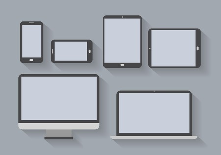 Electronic devices with blank screens  Smartphones, tablets, computer monitor, net book  Vector Çizim