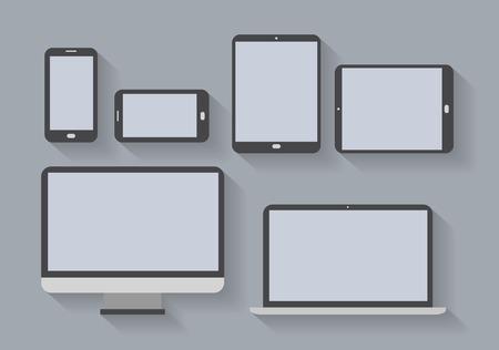 Elektronische apparaten met lege schermen Smartphones, tablets, computer monitor, netbook Vector eps10