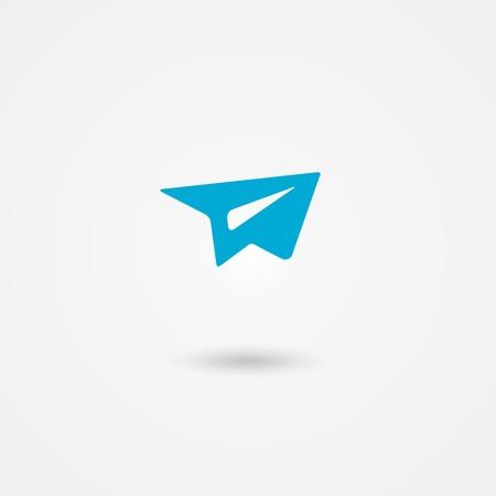 stuur dan een mail pictogram, blauw papier vliegtuig op een witte achtergrond