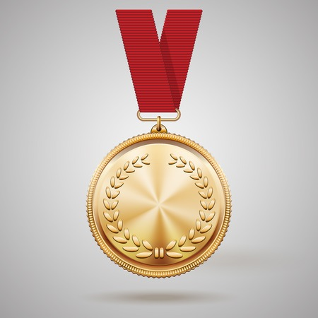 goal achievement: gold medal on red ribbon