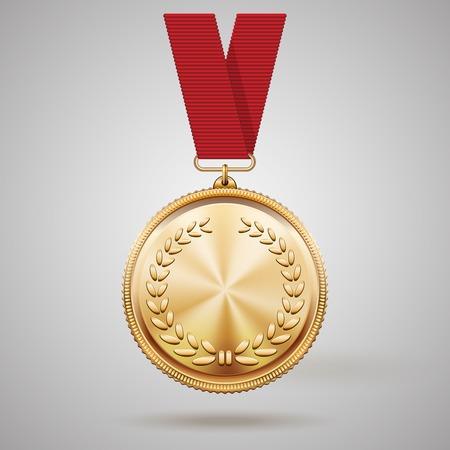 Medaglia d'oro su nastro rosso Archivio Fotografico - 27243788