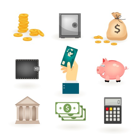 money icons: Set of colored money icons