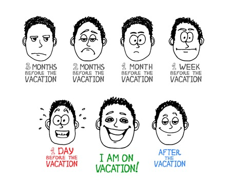anticipation: Hand drawn emotion cartoon face about vacation