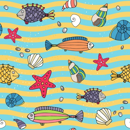 Seamless pattern of sea life Vector