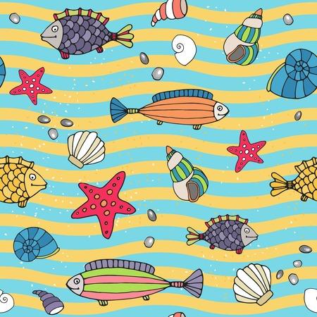 gastropod: Seamless pattern of sea life Illustration