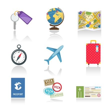 drive ticket: Set of colored travel icons
