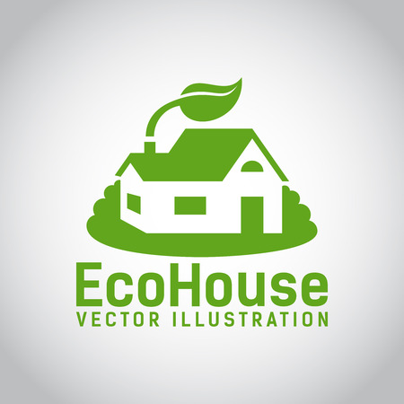 biodegradable material: Green illustration of an eco house or eco home  surrounded by grass and with a leaf above the roof