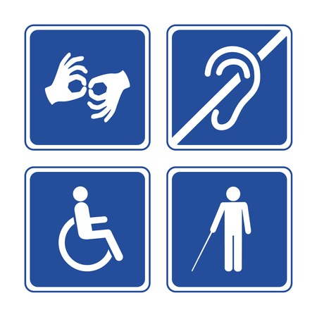 impairment: Disabled signs: deaf, blind, mute and wheelchair icons