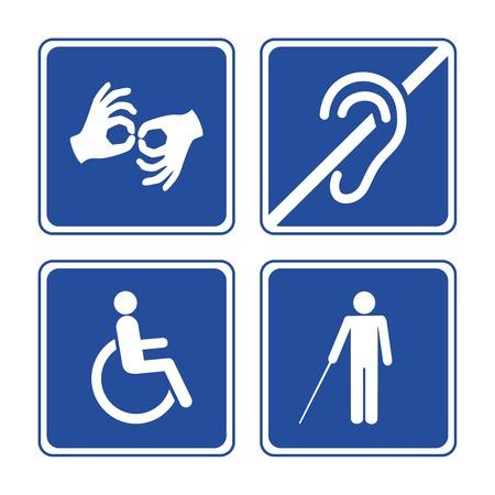 discapacidad: Signos para minusválidos: iconos sordos, ciegos, mudos y en silla de ruedas