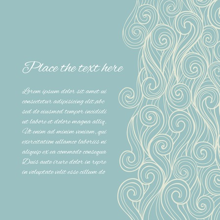 dibujos lineales: Vector de fondo abstracto Blue Sea Wave con copyspace Vectores
