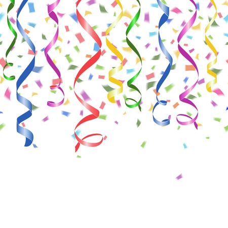 Colorful falling paper confetti and twirled party streamers on a white background Vector