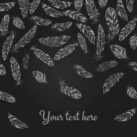 falling feather: Background with falling hand drawn delicate white feathers on black Illustration