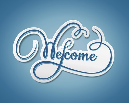 amiability: Welcome sticker with swirling text with a paper effect and shadow on a graduated blue background