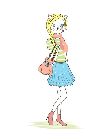 Cute anthropomorphic fashion kitten with a cat head and female body wearing trendy modern clothing and high heels