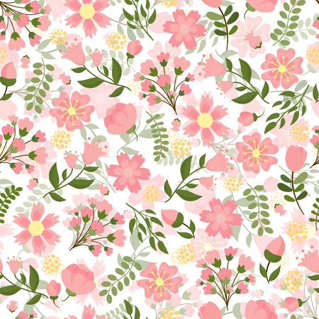 Seamless spring floral background with a dense pattern of pretty pink blossom and flowers Illustration