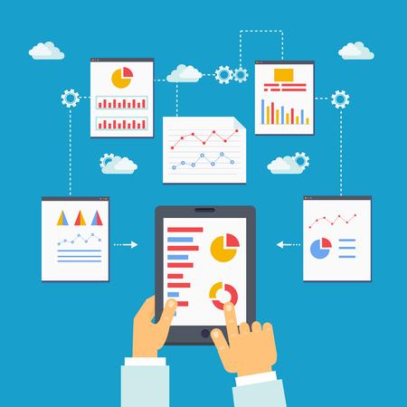 advisory: Flatillustration of mobile optimization, analytics and SEO