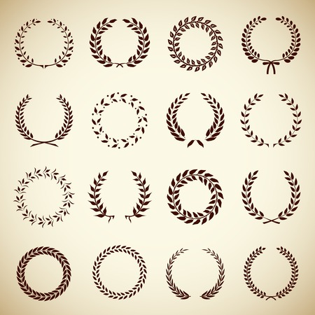 Collection of sixteen circular vintage laurel wreaths for use as design elements in heraldry  on an award certificate  manuscript and to symbolise victory  vector illustration in silhouette