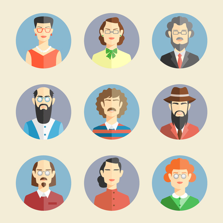 woman middle age: Collection of colored faces icons in flat style depicting the heads and shoulders of diverse men and women facing the viewer in round blue frames  vector illustration