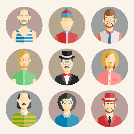 dapper: Set of nine male avatars in flat style showing the colorful heads and shoulders of a diverse collection of men wearing different fashion  vector illustration