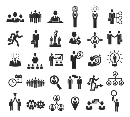 Business mensen pictogrammen: management, personeel, conferentie en gaan naar succes Stock Illustratie