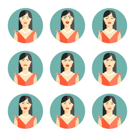 Set of nine different women emotions depicting happiness  joy  sadness  worry  anger  frustration  disbelief and confusion in head and shoulder pose in circular icons  vector illustration Vector
