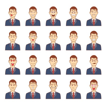 worried man: Large set of male emotions