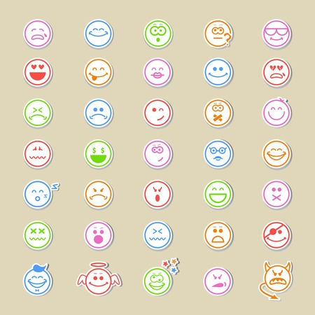 argumentative: Large collection of round smiley icons