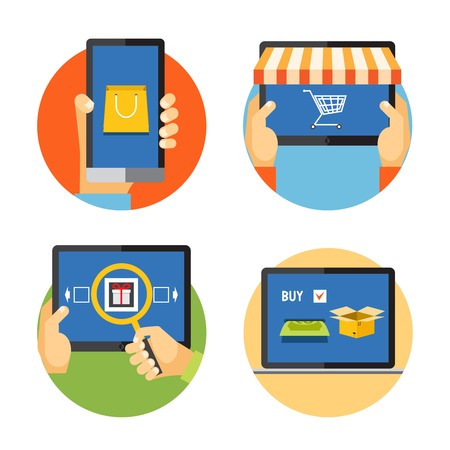illustration internet shopping icons in flat style: search, pay, delivery Vector