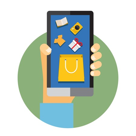 illustration of a man holding a mobile phone with internet or online shopping icons Vector