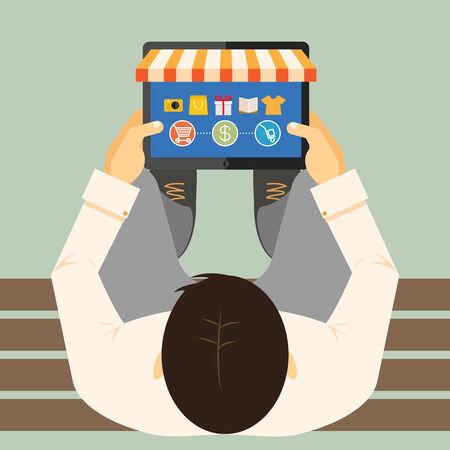 vista desde arriba: Vista desde arriba de un hombre en un banco que hace compras en l�nea en un equipo Tablet PC Vectores