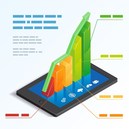 rosnąco: Colorful ascending 3d bar graph on a tablet touchscreen