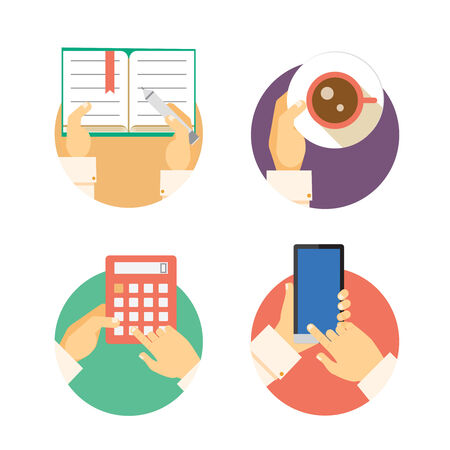 Set of business hands icons showing actions including writing in a diary, carrying coffee  accounting on a calculator and texting or navigating on a smartphone or mobile Vector