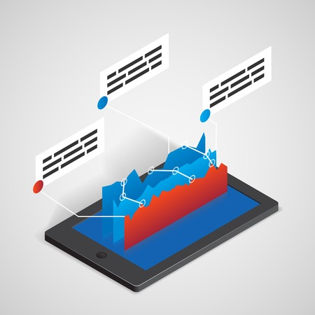 3 point perspective: tablet PC with chart, business concept for infographics and presentations
