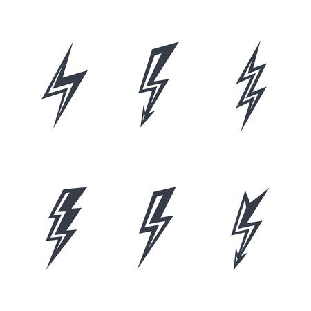 Blitz-Silhouetten auf weißem Hintergrund Vektorgrafik