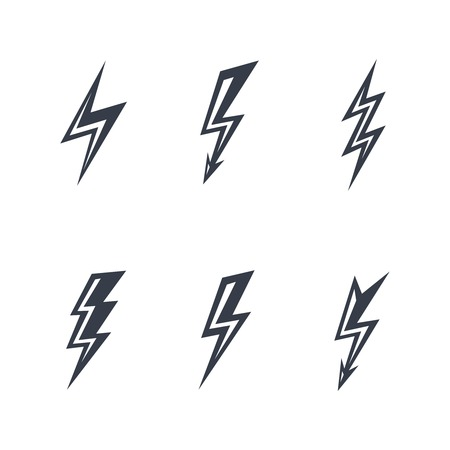 thunderbolt: lightning silhouettes on white background